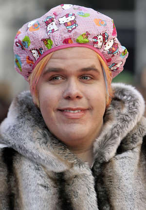 Perez hilton fur coat shower cap lgbt gay homosexual